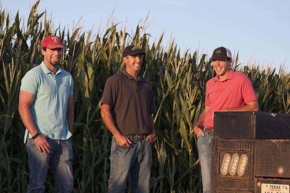 3 farmers in corn field